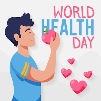 Ręcznie rysowane ilustracja światowego dnia zdrowia z człowiekiem jedzącym jabłko