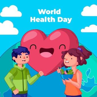 Ręcznie rysowane ilustracja światowego dnia zdrowia z ludźmi jedzącymi sałatki i serca