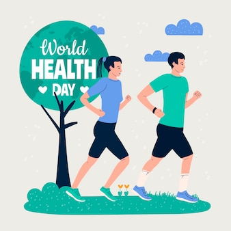 Ręcznie rysowane ilustracja światowego dnia zdrowia z ludźmi uprawiającymi jogging