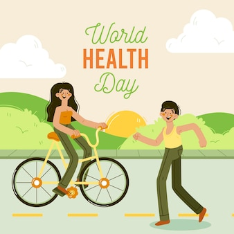 Ręcznie rysowane ilustracja światowego dnia zdrowia