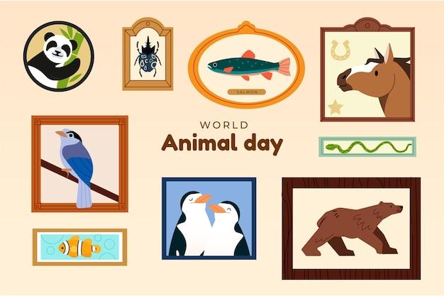 Ręcznie rysowane ilustracja światowego dnia zwierząt