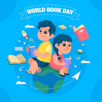 Ręcznie rysowane ilustracja światowy dzień książki z ludźmi czytającymi