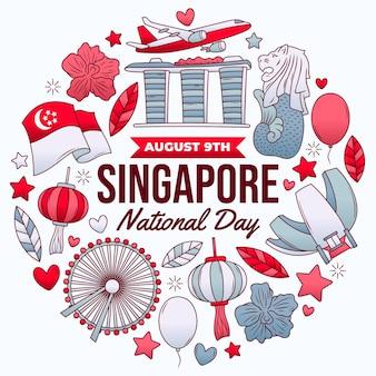 Ręcznie rysowane ilustracja święta narodowego singapuru