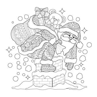 Ręcznie rysowane ilustracja świętego mikołaja w zentangle stylu