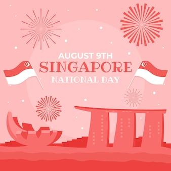 Ręcznie Rysowane Ilustracja święto Narodowe W Singapurze Premium Wektorów
