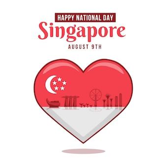 Ręcznie rysowane ilustracja święto narodowe w singapurze
