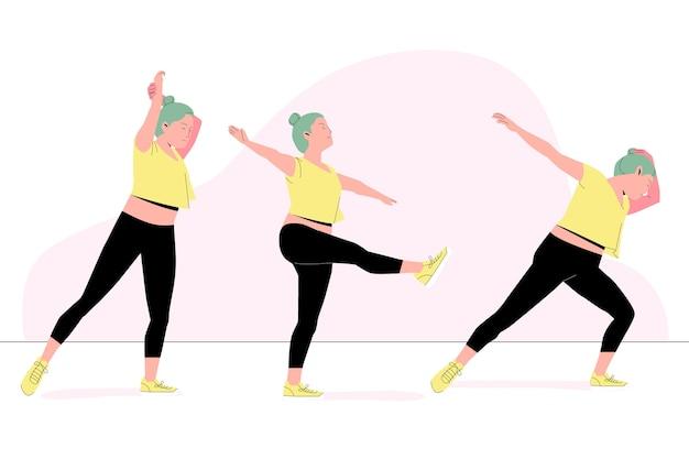 Ręcznie rysowane ilustracja tańca fitness klasy