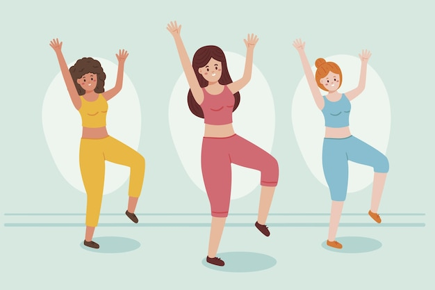 Ręcznie rysowane ilustracja taniec fitness kroki
