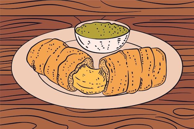 Ręcznie rysowane ilustracja tequeños na talerzu z sosem