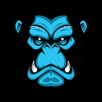 Ręcznie rysowane ilustracja twarzy goryl