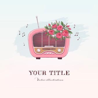 Ręcznie rysowane ilustracja vintage radio i kwiaty