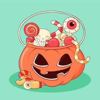 Ręcznie rysowane ilustracja worek halloween