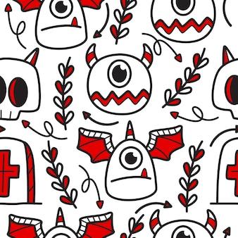 Ręcznie rysowane ilustracja wzór doodle halloween