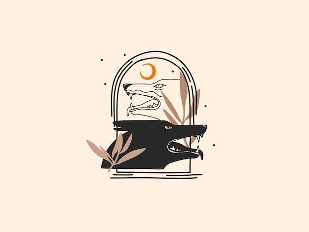 Ręcznie rysowane ilustracja z elementem logo, magiczna grafika liniowa wilków w prostym stylu