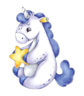 Ręcznie rysowane ilustracja z fioletowym jednorożcem i gwiazdą