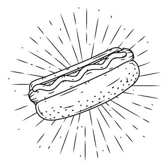 Ręcznie rysowane ilustracja z hot dog i rozbieżne promienie.