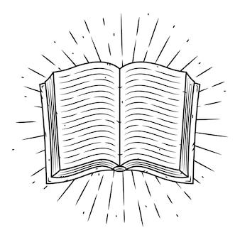 Ręcznie rysowane ilustracja z książką i rozbieżne promienie. otwarta książka.
