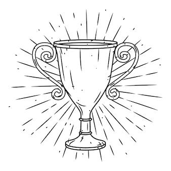 Ręcznie rysowane ilustracja z kubkiem trofeum i rozbieżne promienie.