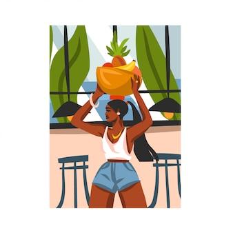 Ręcznie rysowane ilustracja z młodą piękną kobietą szczęśliwy czarny afro, niesie kosz owoców na głowie w miejskiej kawiarni na białym tle