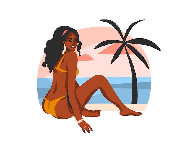 Ręcznie rysowane ilustracja z młodą szczęśliwą czarną kobietą piękna afro, w stroju kąpielowym na scenie na plaży o zachodzie słońca na białym tle.