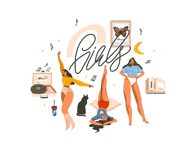 Ręcznie rysowane ilustracja z młodych szczęśliwych kobiet piękna, tańczących i dobrze się bawić razem grupa przyjaciół i dziewczyny odręcznie napis na białym tle