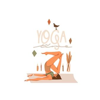 Ręcznie rysowane ilustracja z młodym szczęśliwym pięknem kobiecej postaci, medytacji i jogi na białym tle