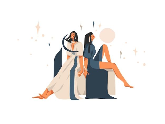 Ręcznie rysowane ilustracja z niebiańskiego zodiaku, znak zodiaku bliźnięta z kobietami