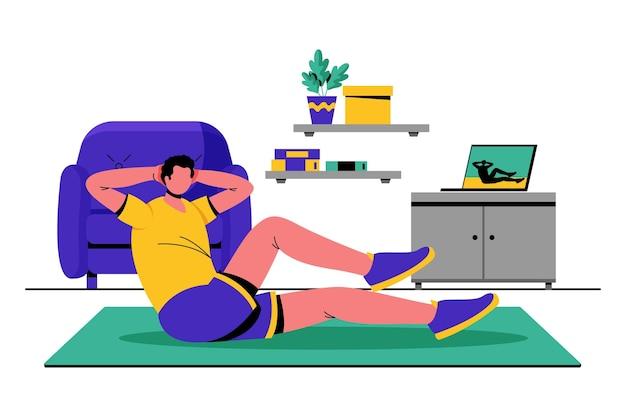 Ręcznie rysowane ilustracja zajęcia sportowe online