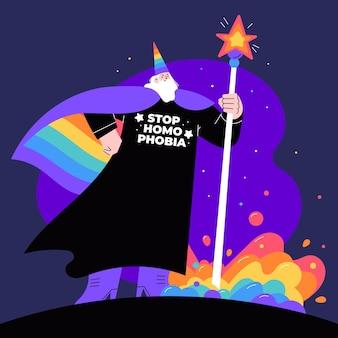 Ręcznie rysowane ilustracja zatrzymania homofobii