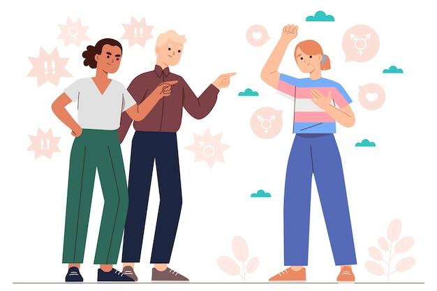 Ręcznie rysowane ilustracja zatrzymania transfobii