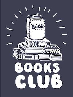 Ręcznie rysowane ilustracja ze stosem książek i napisem. to godzina książki, tło wektor. projekt plakatu czarno-biały z tekstem w języku angielskim. koncepcja edukacji, czas książki