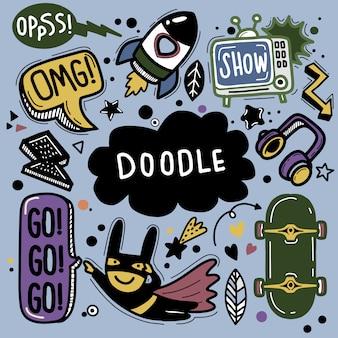 Ręcznie rysowane ilustracja zestawu doodle, rysowanie narzędzi linii, płaska konstrukcja