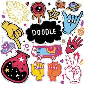 Ręcznie rysowane ilustracja zestawu doodle