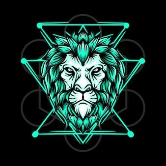Ręcznie rysowane ilustracja zielony lew