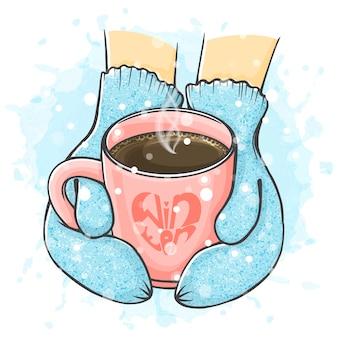 Ręcznie rysowane ilustracja zima. ręce w rękawiczkach trzyma filiżankę kawy.