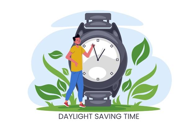 Ręcznie rysowane ilustracja zmiana czasu wiosny z mężczyzną i zegarkiem na rękę