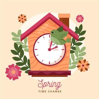 Ręcznie rysowane ilustracja zmiana czasu wiosny z zegarem i ptakiem