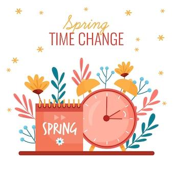 Ręcznie rysowane ilustracja zmiana czasu wiosny
