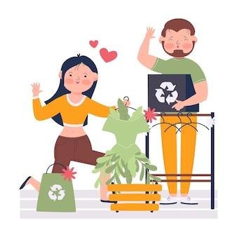 Ręcznie rysowane ilustracja zrównoważonej mody z parą