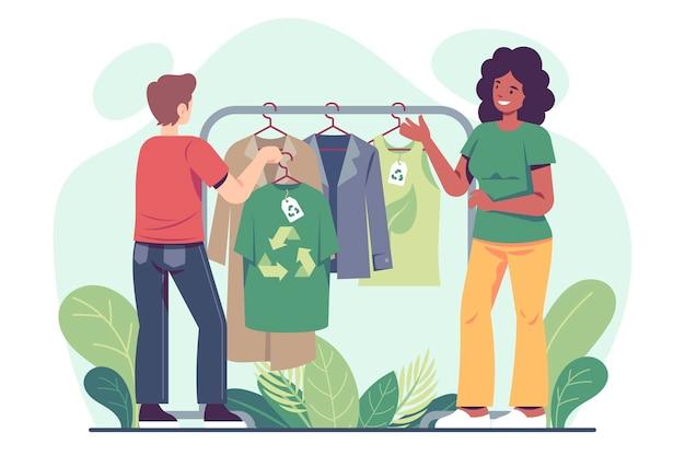 Ręcznie rysowane ilustracja zrównoważonej mody