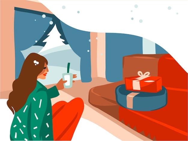 Ręcznie rysowane ilustracje kreskówka wesołych świąt i szczęśliwego nowego roku