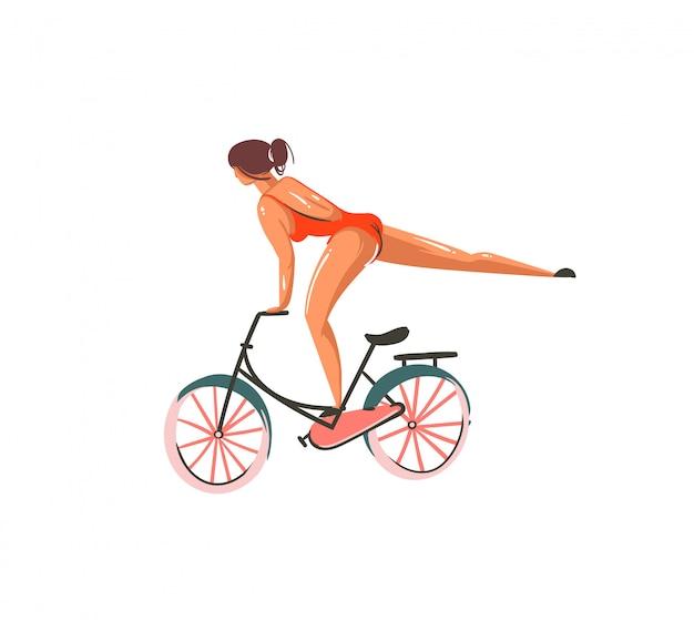 Ręcznie rysowane ilustracje lato streszczenie kreskówka wydrukować z dziewczyna jeździć na rowerze na białym tle