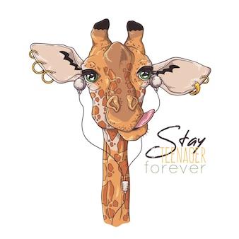 Ręcznie rysowane ilustracje. portret śliczna żyrafa słuchania muzyki