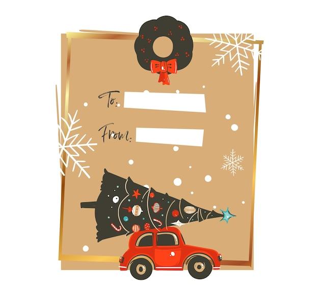 Ręcznie rysowane ilustracje vintage kreskówka streszczenie wesołych świąt i szczęśliwego nowego roku