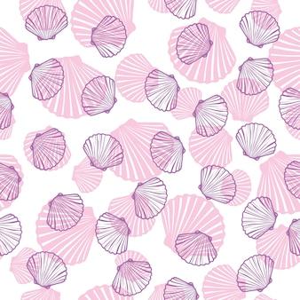 Ręcznie rysowane ilustracje - wzór muszelek. tło morskie