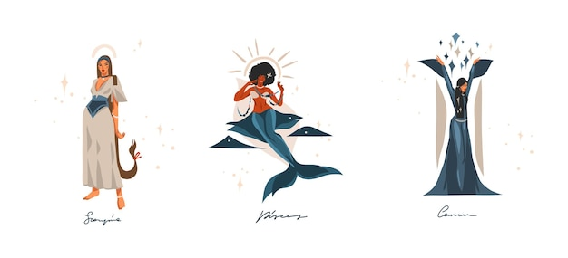 Ręcznie rysowane ilustracje z kolekcji znaków zodiaku astrologicznych współczesnych znaków wodnych.