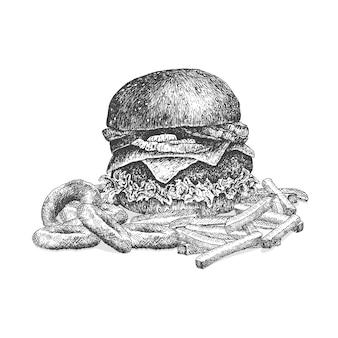 Ręcznie rysowane ilustracji burger z krążkami cebuli i frytki