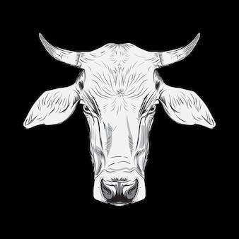 Ręcznie rysowane ilustracji głowa krowy