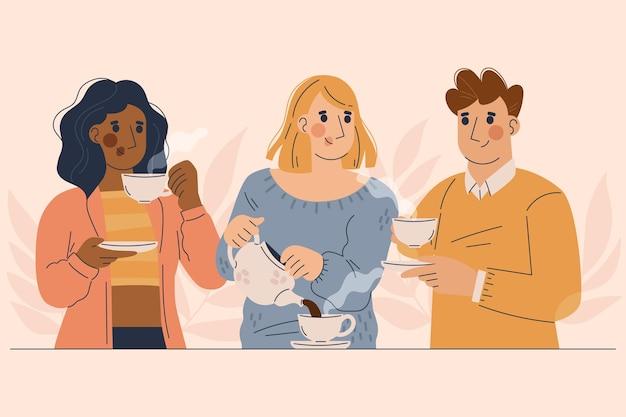Ręcznie rysowane ilustracji ludzie z gorącymi napojami
