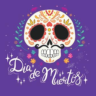 """Ręcznie rysowane ilustracji meksykańskiego święta """"day of the dead"""". pocztówka z tradycyjnymi cukrowymi czaszkami, kwiatami nagietka i świecami oraz napisem """"dia de muertos"""""""